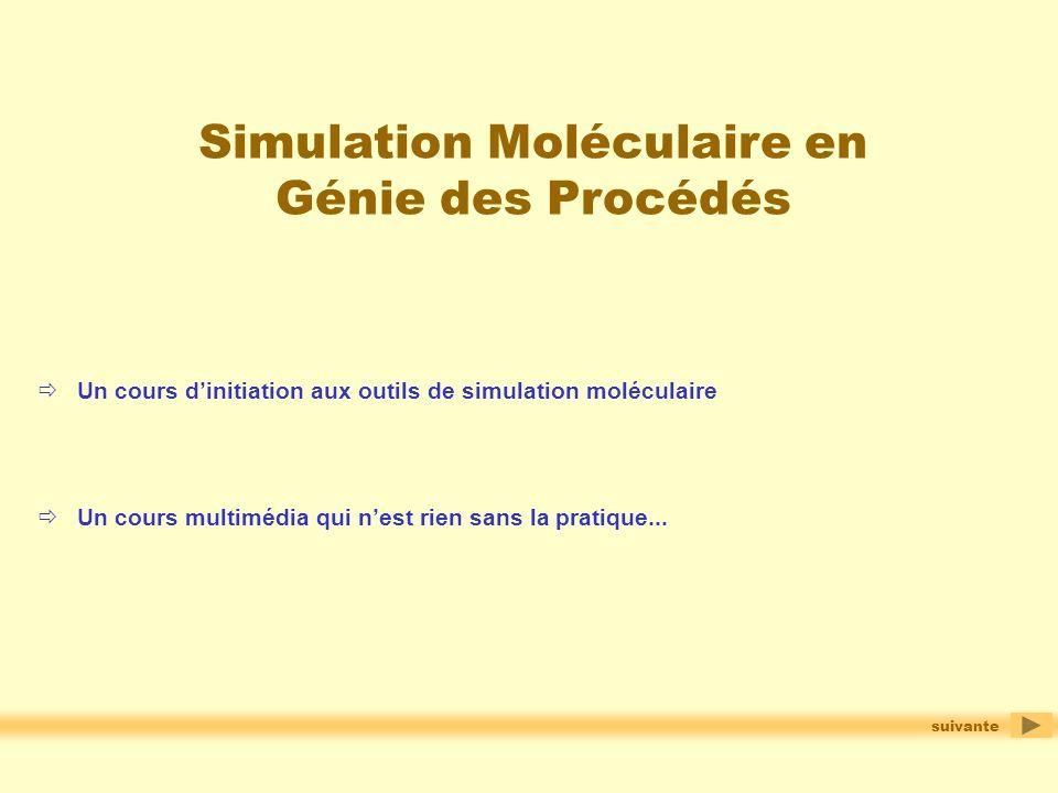 Simulation Moléculaire en Génie des Procédés Un cours multimédia qui nest rien sans la pratique... Un cours dinitiation aux outils de simulation moléc