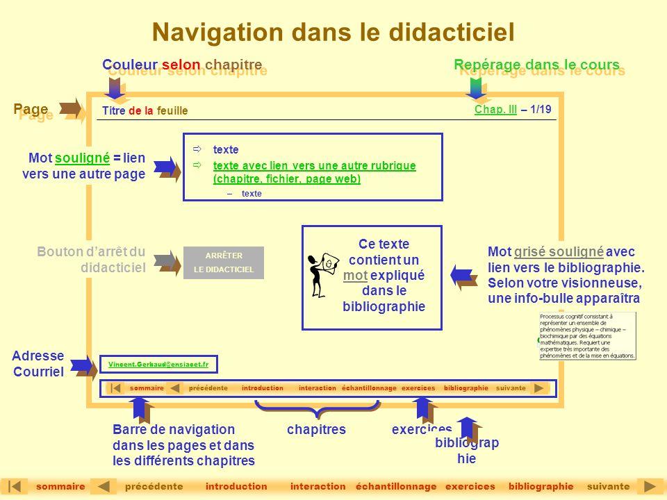 Navigation dans le didacticiel texte texte avec lien vers une autre rubrique (chapitre, fichier, page web) –texte Titre de la feuille précédentesuivan