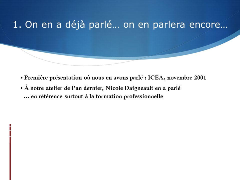 1. On en a déjà parlé… on en parlera encore… Première présentation où nous en avons parlé : ICÉA, novembre 2001 À notre atelier de lan dernier, Nicole
