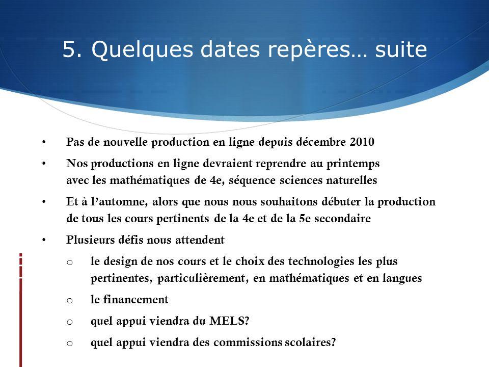 5. Quelques dates repères… suite Pas de nouvelle production en ligne depuis décembre 2010 Nos productions en ligne devraient reprendre au printemps av