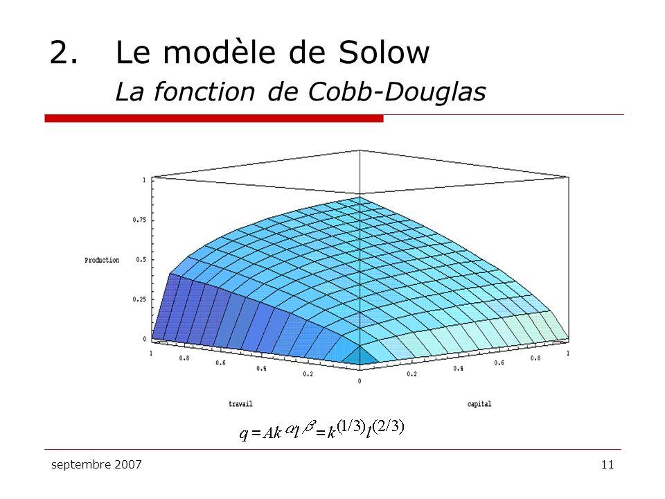 septembre 200711 2.Le modèle de Solow La fonction de Cobb-Douglas