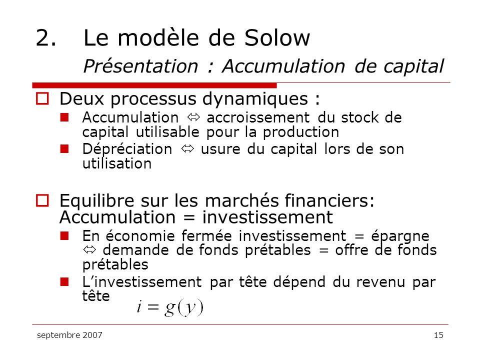 septembre 200715 2.Le modèle de Solow Présentation : Accumulation de capital Deux processus dynamiques : Accumulation accroissement du stock de capita