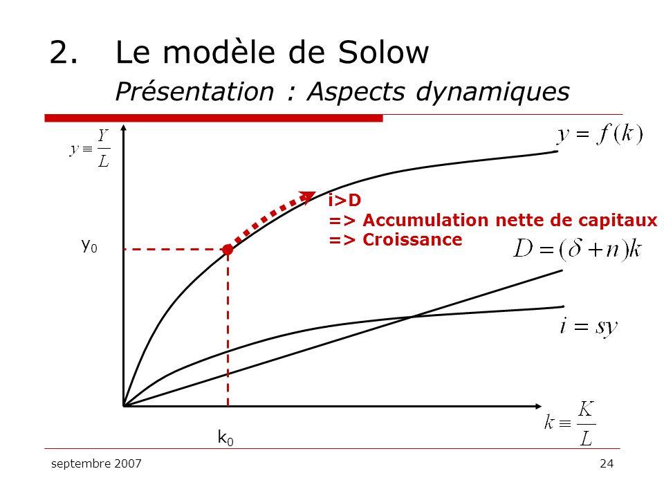 septembre 200724 2.Le modèle de Solow Présentation : Aspects dynamiques k0k0 y0y0 i>D => Accumulation nette de capitaux => Croissance