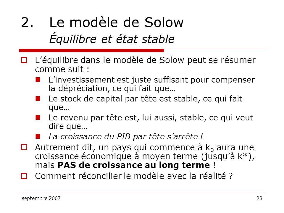 septembre 200728 2.Le modèle de Solow Équilibre et état stable Léquilibre dans le modèle de Solow peut se résumer comme suit : Linvestissement est jus