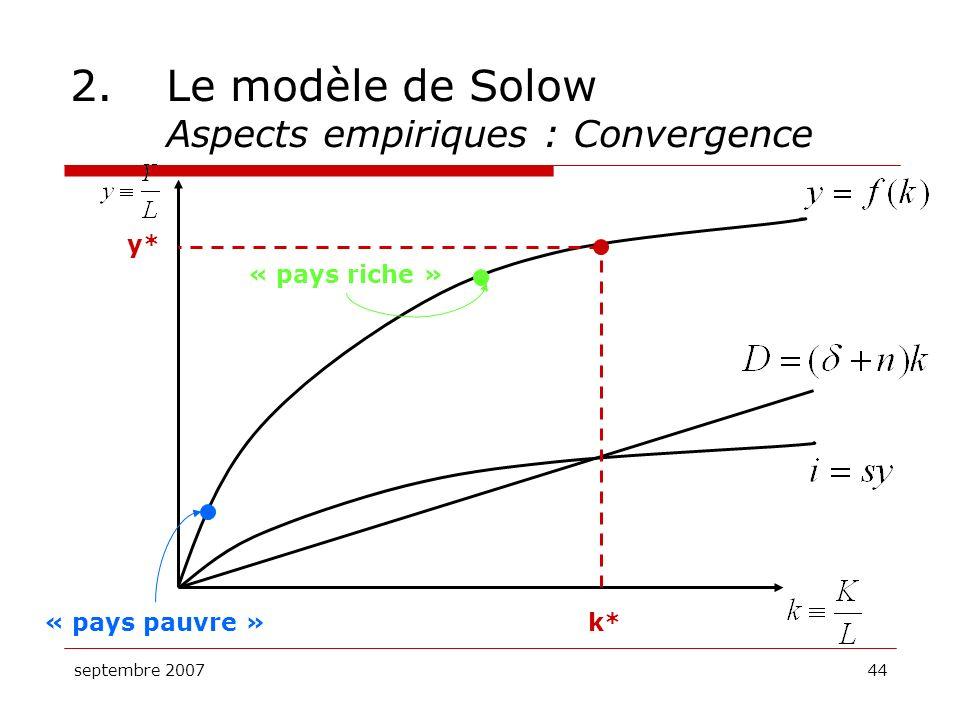 septembre 200744 2.Le modèle de Solow Aspects empiriques : Convergence k* y* « pays riche » « pays pauvre »