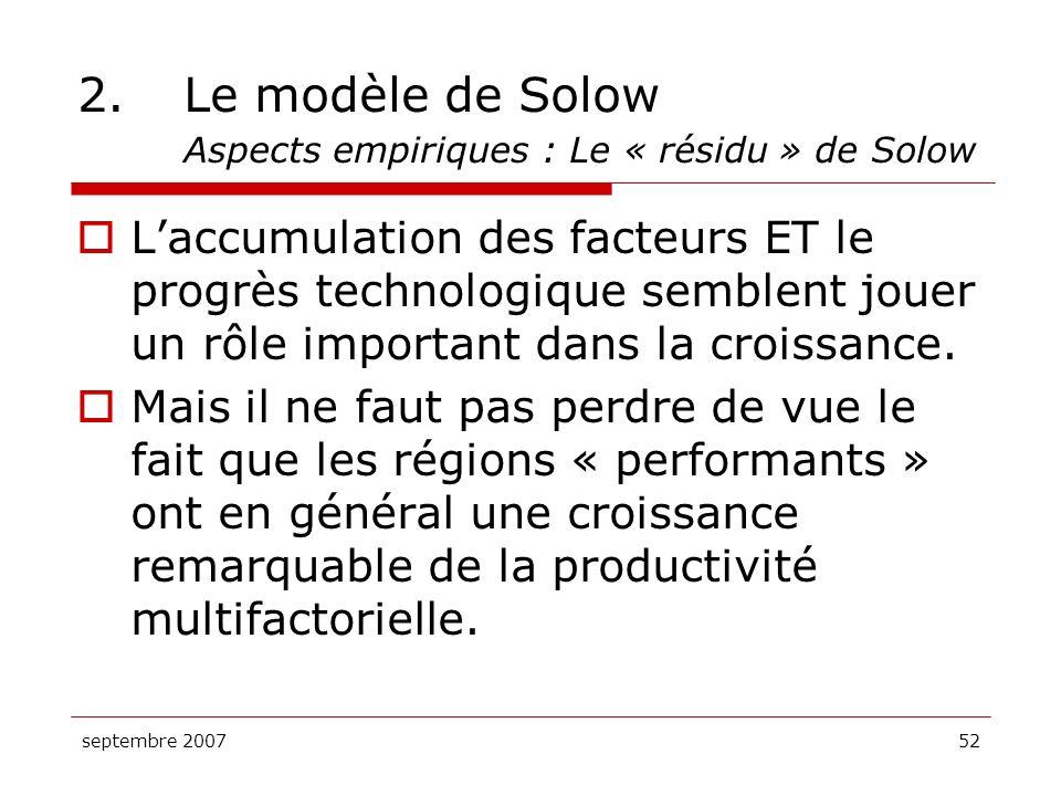 septembre 200752 2.Le modèle de Solow Aspects empiriques : Le « résidu » de Solow Laccumulation des facteurs ET le progrès technologique semblent joue