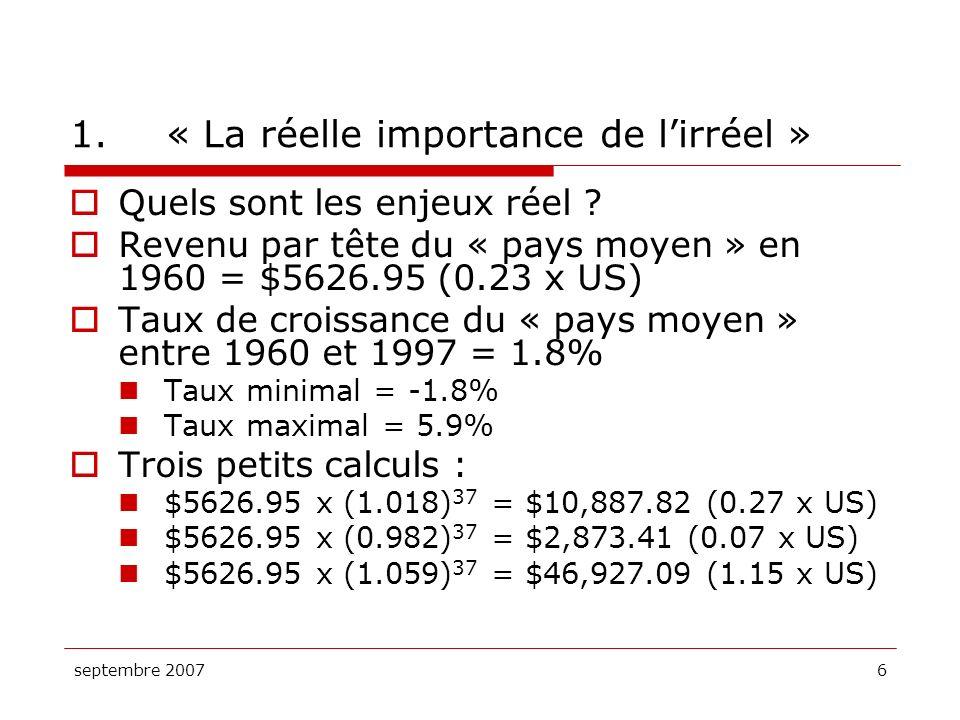 septembre 20076 1.« La réelle importance de lirréel » Quels sont les enjeux réel ? Revenu par tête du « pays moyen » en 1960 = $5626.95 (0.23 x US) Ta