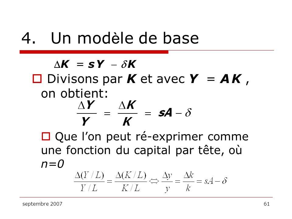 septembre 200761 4.Un mod è le de base K = s Y K Divisons par K et avec Y = A K, on obtient: Que lon peut ré-exprimer comme une fonction du capital pa