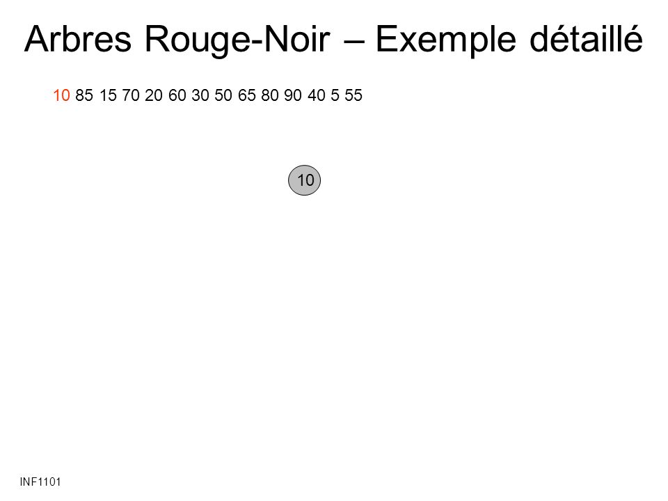 INF1101 Arbres Rouge-Noir – Exemple détaillé 10 85 15 70 20 60 30 50 65 80 90 40 5 55 10