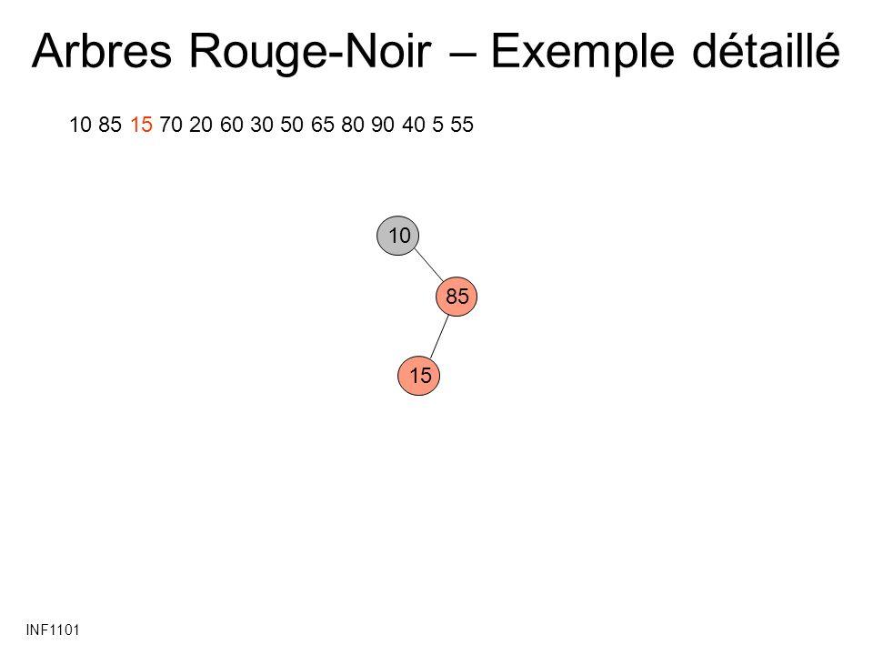 INF1101 Arbres Rouge-Noir – Exemple détaillé 10 85 15 70 20 60 30 50 65 80 90 40 5 55 10 85 15