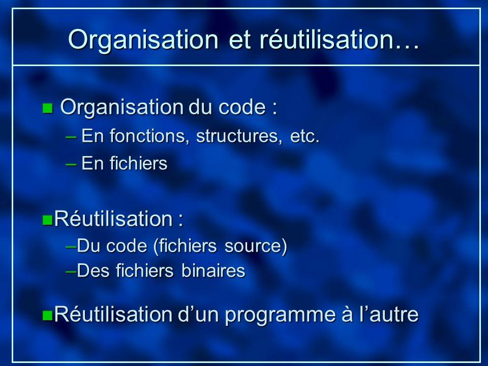 Organisation et réutilisation… n Organisation du code : –En fonctions, structures, etc. –En fichiers n Réutilisation : –Du code (fichiers source) –Des