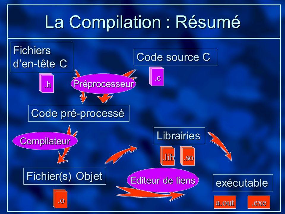 La Compilation : Résumé Code source C Code pré-processé exécutable Librairies Fichier(s) Objet.o.so.lib.h.c a.out.exe Fichiers den-tête C Préprocesseu