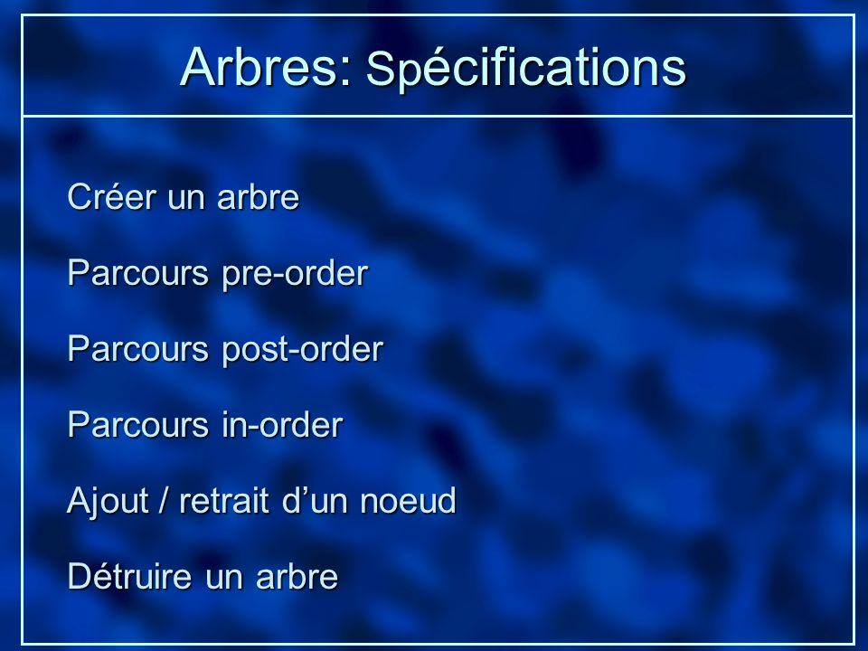 Arbres: Sp écifications Créer un arbre Ajout / retrait dun noeud Détruire un arbre Parcours pre-order Parcours post-order Parcours in-order