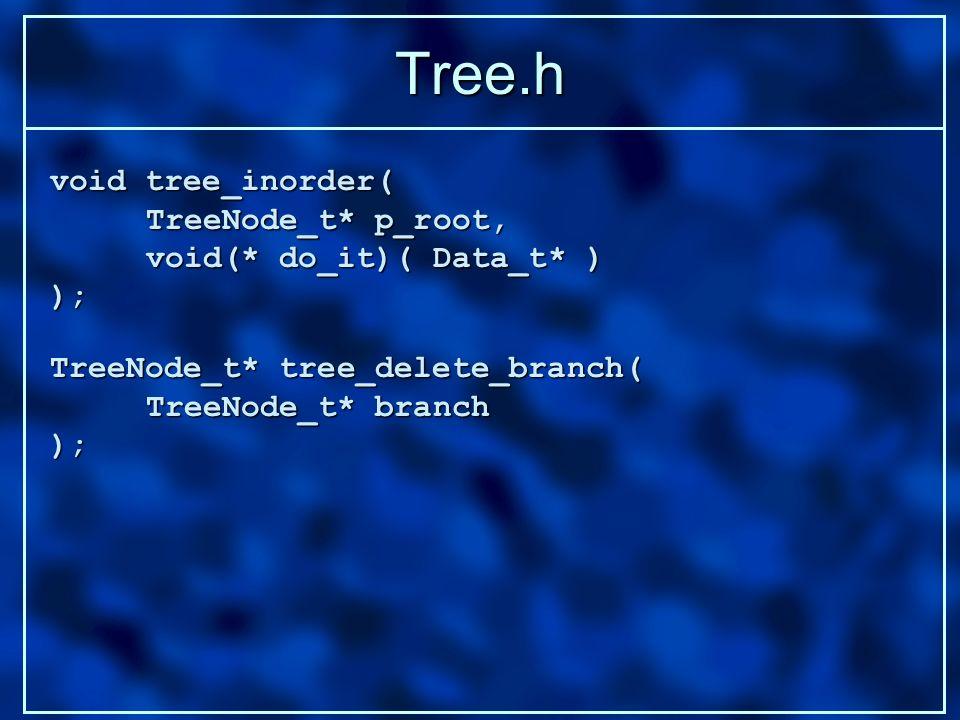 Tree.h TreeNode_t* tree_delete_branch( TreeNode_t* branch ); void tree_inorder( TreeNode_t* p_root, void(* do_it)( Data_t* ) );