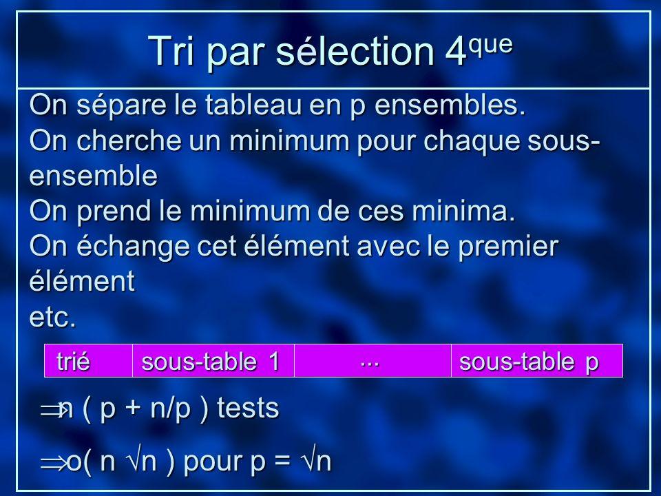 Tri par s é lection 4 que On sépare le tableau en p ensembles. On cherche un minimum pour chaque sous- ensemble On prend le minimum de ces minima. On