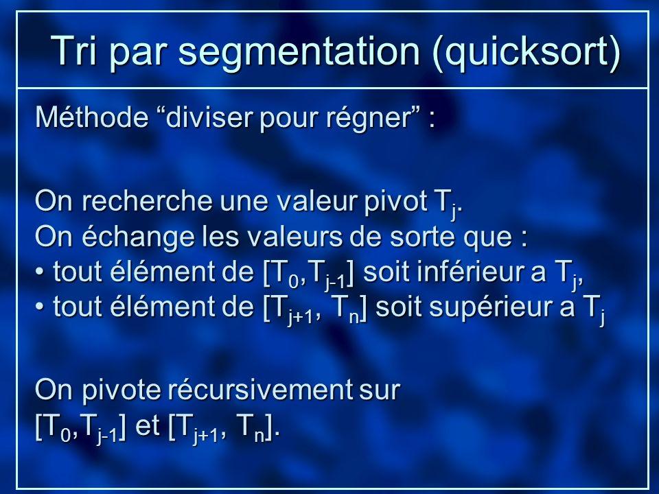 Tri par segmentation (quicksort) On recherche une valeur pivot T j. On échange les valeurs de sorte que : tout élément de [T 0,T j-1 ] soit inférieur