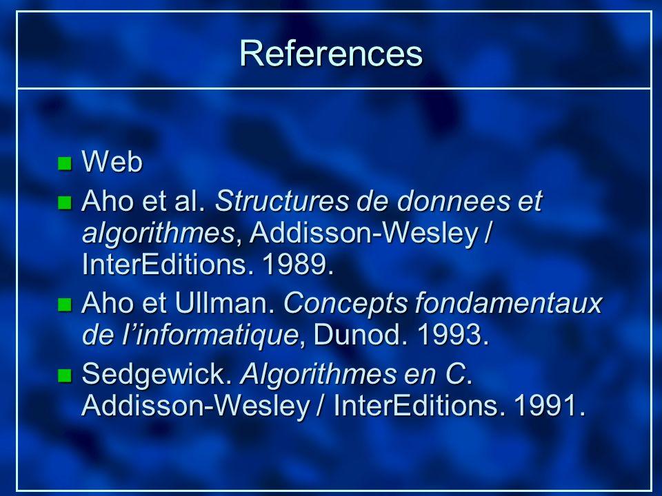 References n Web n Aho et al. Structures de donnees et algorithmes, Addisson-Wesley / InterEditions. 1989. n Aho et Ullman. Concepts fondamentaux de l
