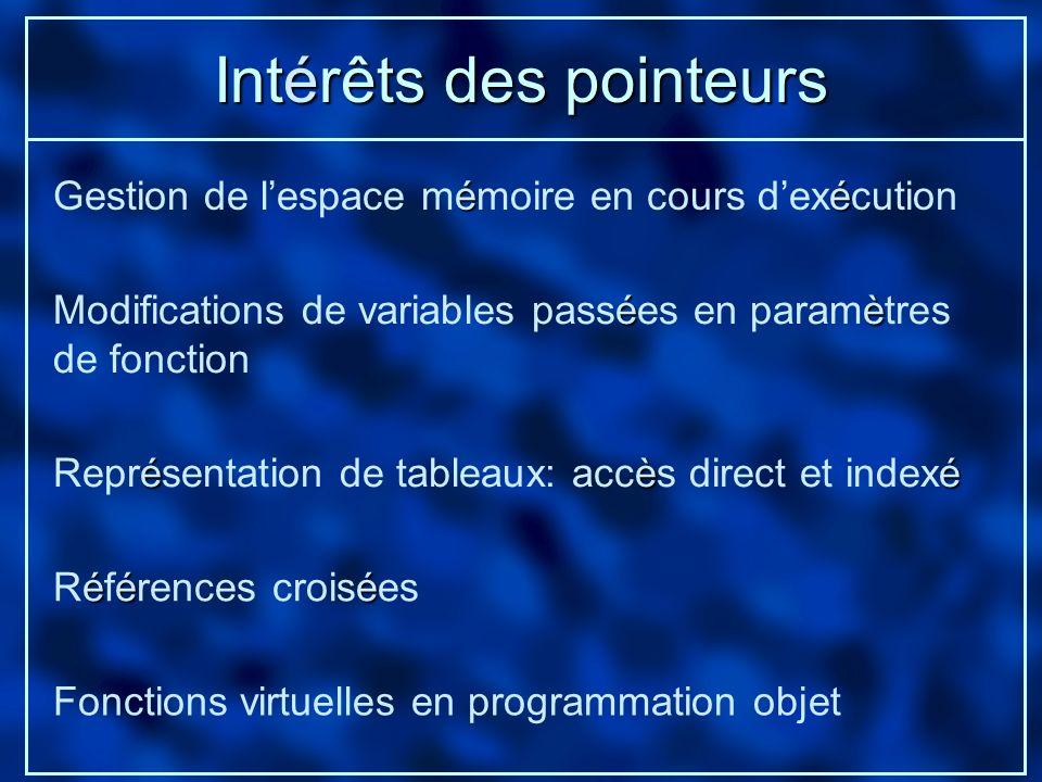 Intérêts des pointeurs éé Gestion de lespace mémoire en cours dexécution éèé Représentation de tableaux: accès direct et indexé éè Modifications de va