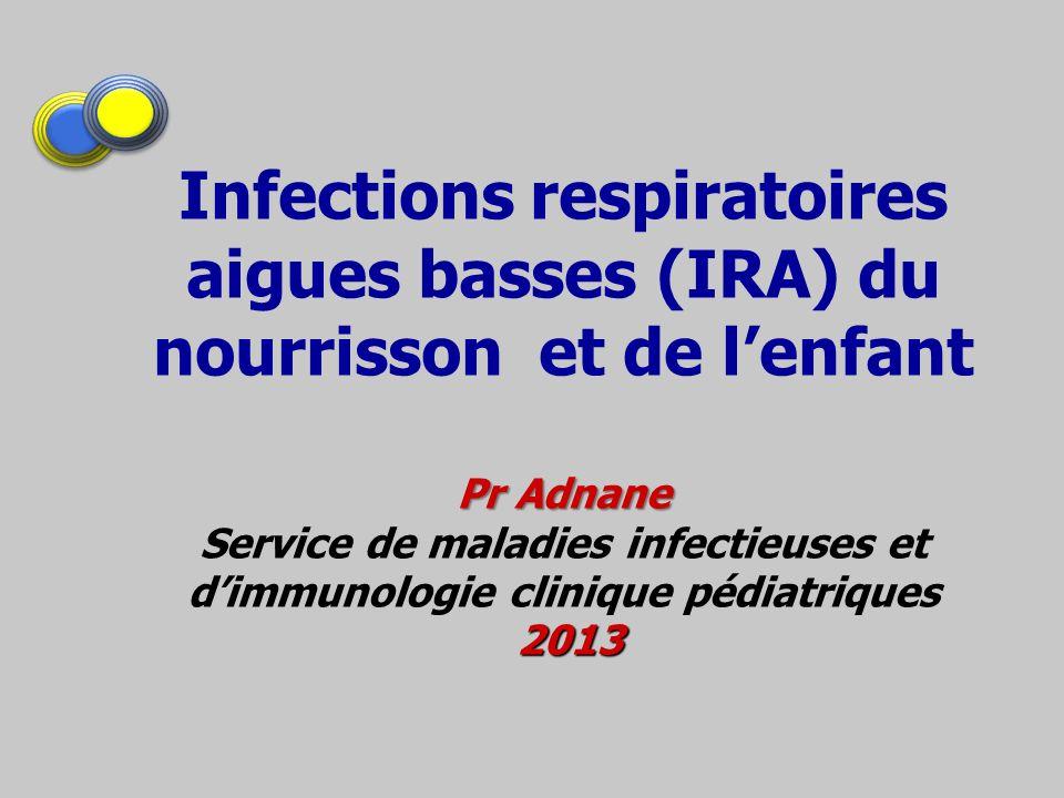 Pr Adnane 2013 Infections respiratoires aigues basses (IRA) du nourrisson et de lenfant Pr Adnane Service de maladies infectieuses et dimmunologie cli