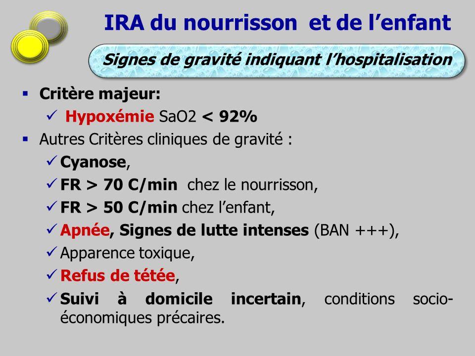 IRA du nourrisson et de lenfant Critère majeur: Hypoxémie SaO2 < 92% Autres Critères cliniques de gravité : Cyanose, FR > 70 C/min chez le nourrisson,