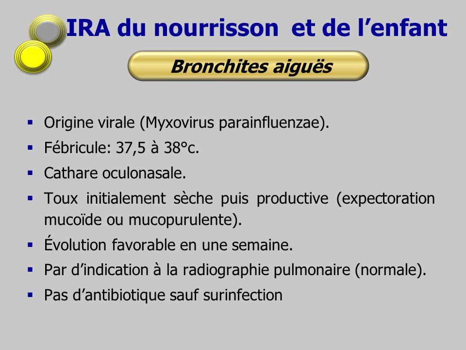 IRA du nourrisson et de lenfant Origine virale (Myxovirus parainfluenzae). Fébricule: 37,5 à 38°c. Cathare oculonasale. Toux initialement sèche puis p