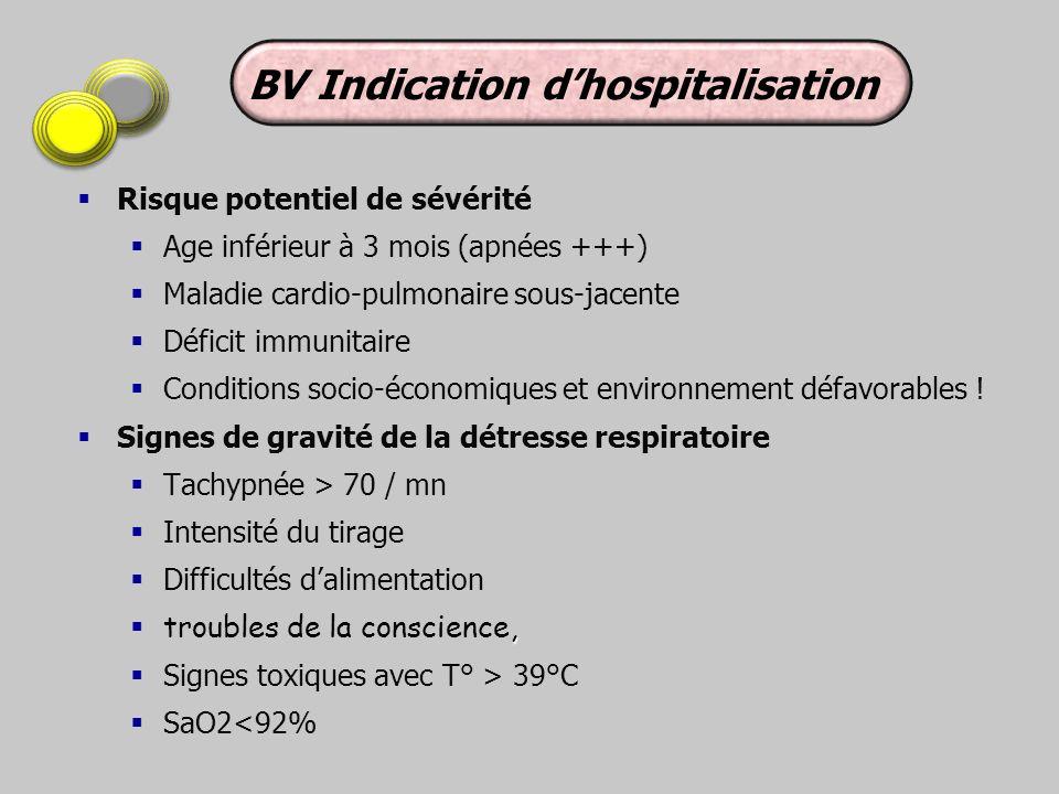 Risque potentiel de sévérité Age inférieur à 3 mois (apnées +++) Maladie cardio-pulmonaire sous-jacente Déficit immunitaire Conditions socio-économiqu