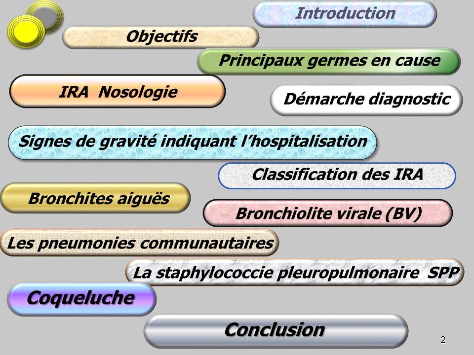 Bronchiolite virale (BV) 2 Classification des IRA Conclusion Bronchites aiguës Signes de gravité indiquant lhospitalisation Introduction Objectifs Pri