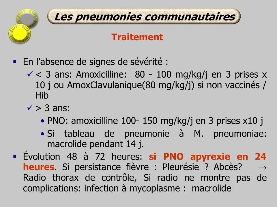 En labsence de signes de sévérité : < 3 ans: Amoxicilline: 80 - 100 mg/kg/j en 3 prises x 10 j ou AmoxClavulanique(80 mg/kg/j) si non vaccinés / Hib >