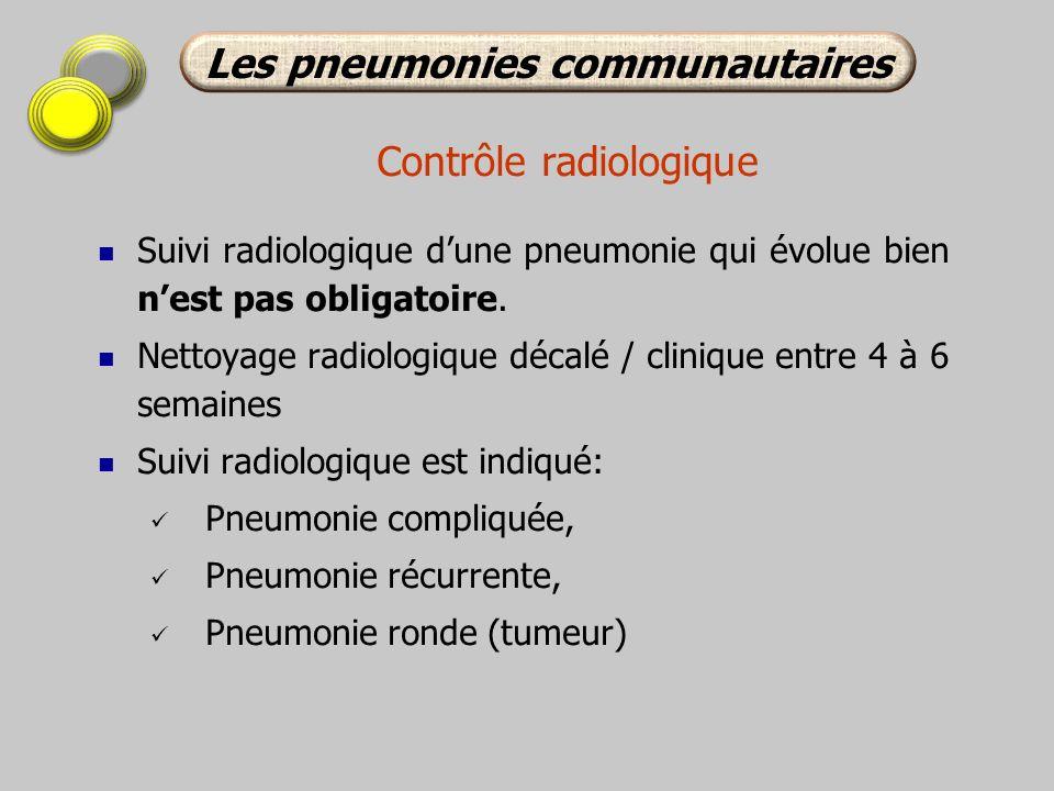Contrôle radiologique Suivi radiologique dune pneumonie qui évolue bien nest pas obligatoire. Nettoyage radiologique décalé / clinique entre 4 à 6 sem