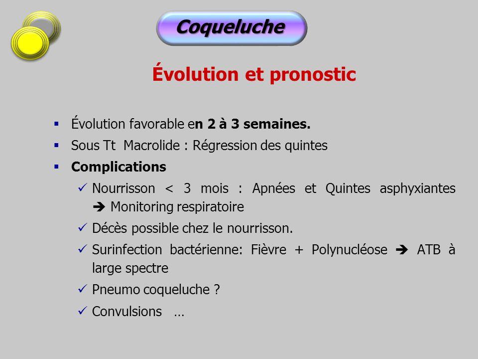 Évolution et pronostic Évolution favorable en 2 à 3 semaines. Sous Tt Macrolide : Régression des quintes Complications Nourrisson < 3 mois : Apnées et