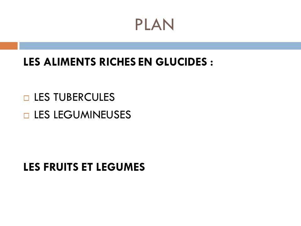 PLAN LES ALIMENTS RICHES EN GLUCIDES : LES TUBERCULES LES LEGUMINEUSES LES FRUITS ET LEGUMES