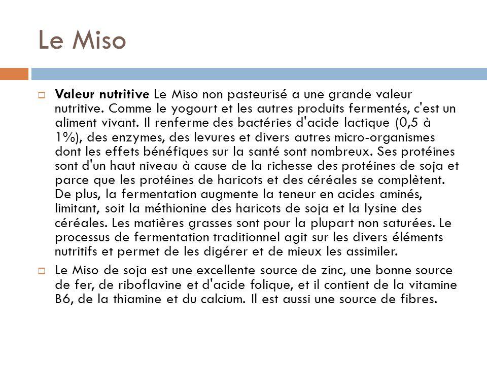 Valeur nutritive Le Miso non pasteurisé a une grande valeur nutritive.
