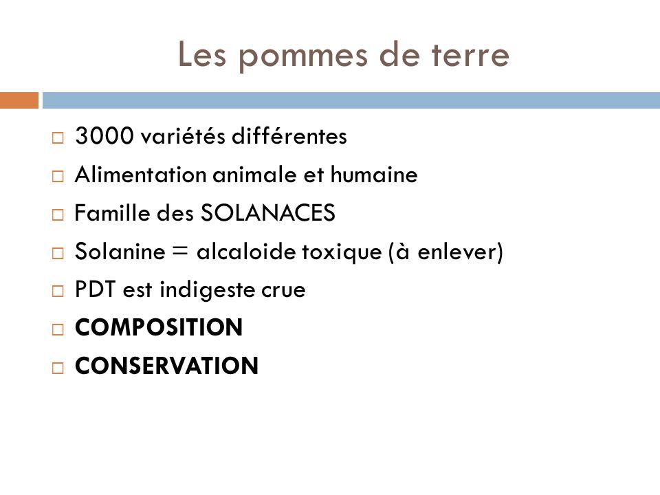 Les pommes de terre 3000 variétés différentes Alimentation animale et humaine Famille des SOLANACES Solanine = alcaloide toxique (à enlever) PDT est indigeste crue COMPOSITION CONSERVATION