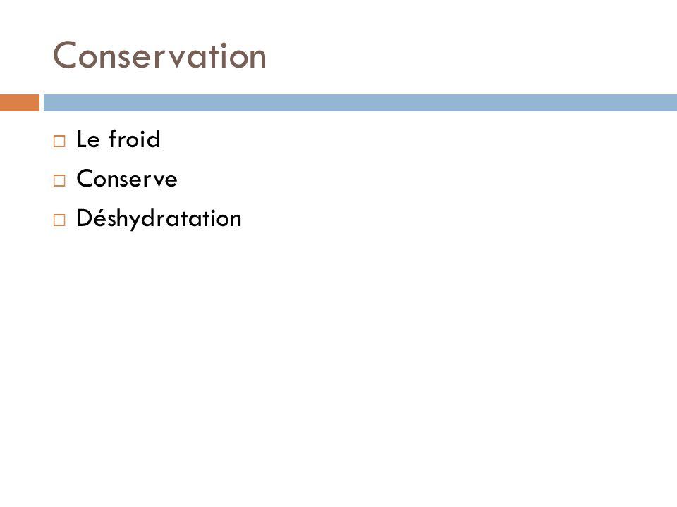 Conservation Le froid Conserve Déshydratation