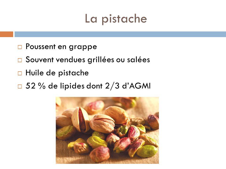 La pistache Poussent en grappe Souvent vendues grillées ou salées Huile de pistache 52 % de lipides dont 2/3 dAGMI