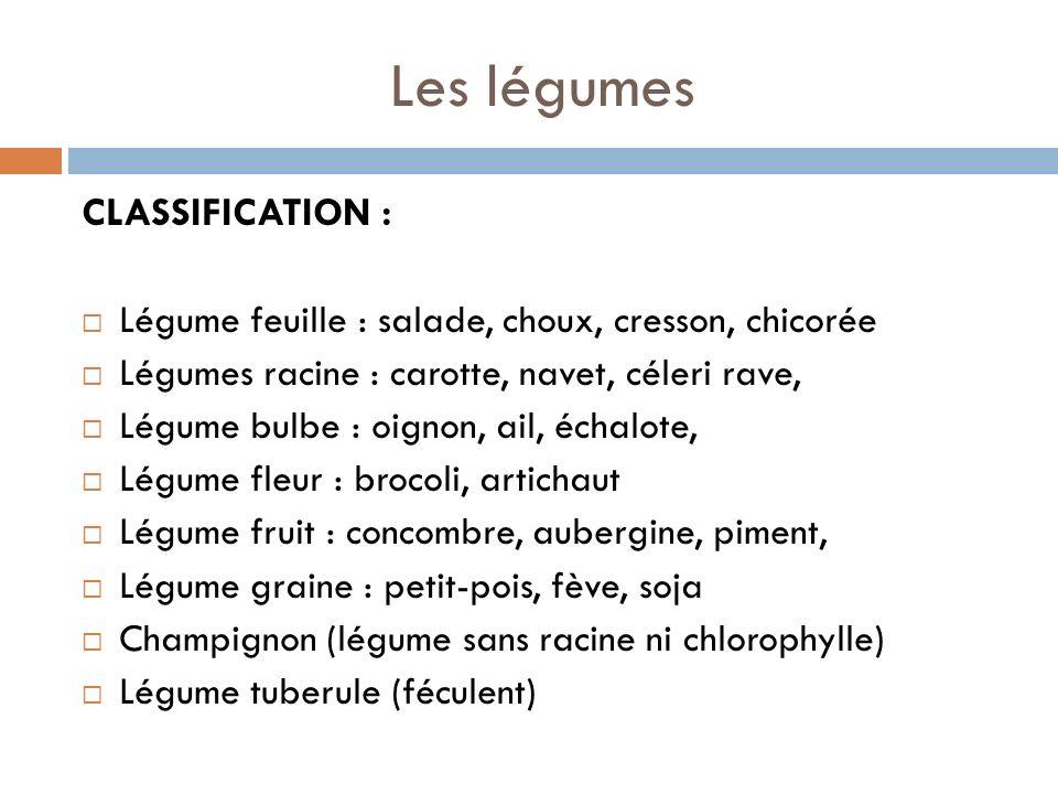 Les légumes CLASSIFICATION : Légume feuille : salade, choux, cresson, chicorée Légumes racine : carotte, navet, céleri rave, Légume bulbe : oignon, ail, échalote, Légume fleur : brocoli, artichaut Légume fruit : concombre, aubergine, piment, Légume graine : petit-pois, fève, soja Champignon (légume sans racine ni chlorophylle) Légume tuberule (féculent)