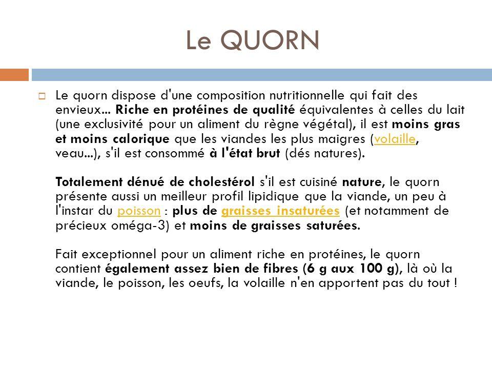 Le QUORN Le quorn dispose d une composition nutritionnelle qui fait des envieux...