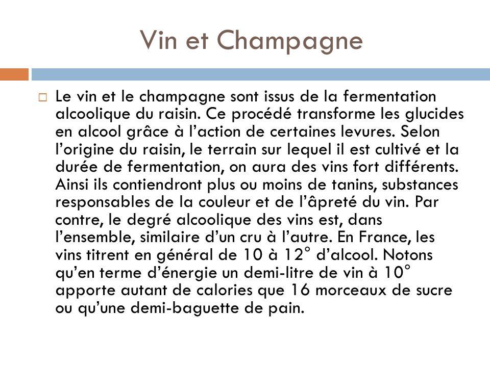 Vin et Champagne Le vin et le champagne sont issus de la fermentation alcoolique du raisin.