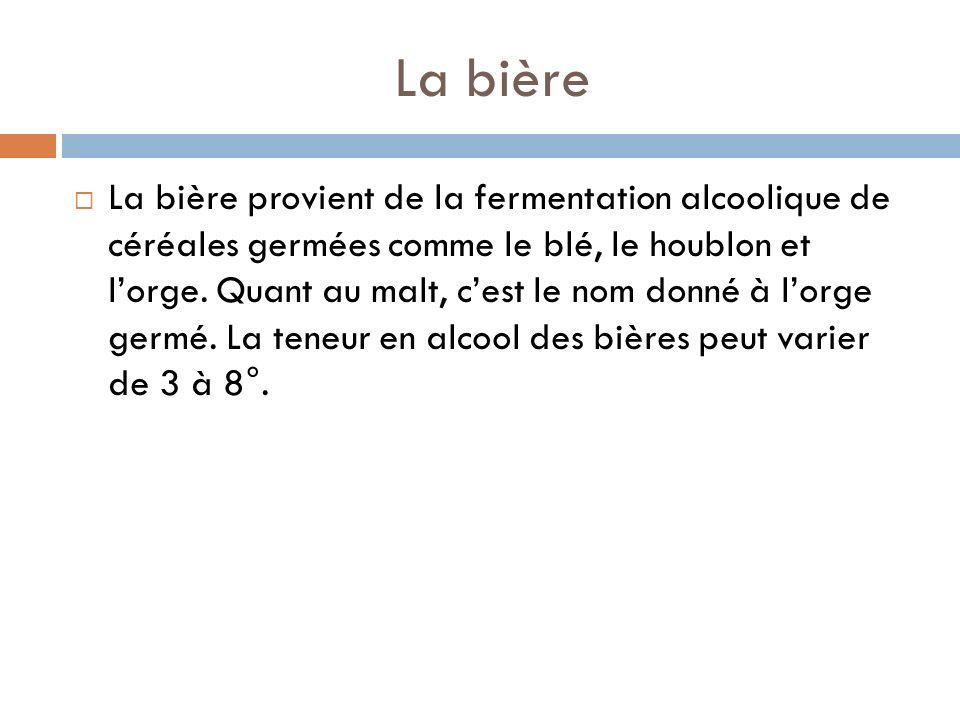La bière La bière provient de la fermentation alcoolique de céréales germées comme le blé, le houblon et lorge.