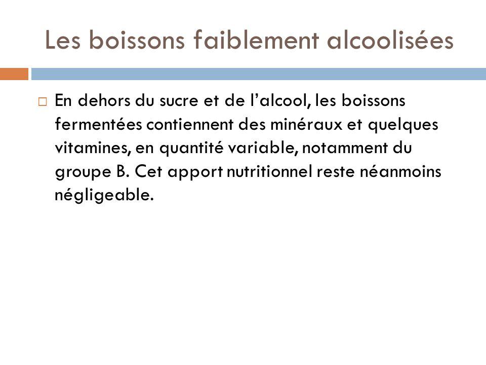 Les boissons faiblement alcoolisées En dehors du sucre et de lalcool, les boissons fermentées contiennent des minéraux et quelques vitamines, en quantité variable, notamment du groupe B.