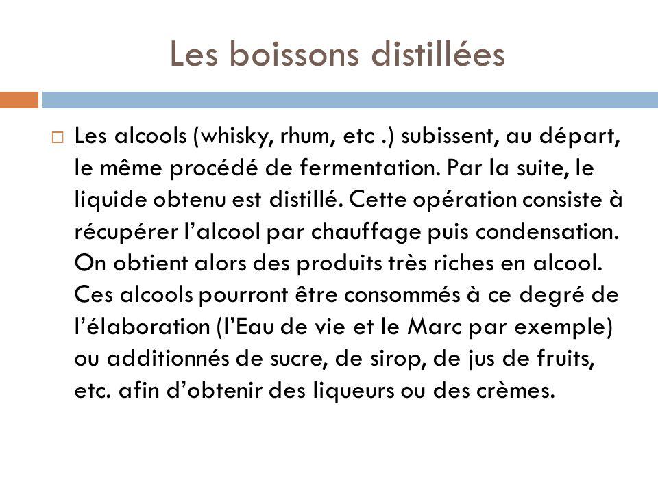 Les boissons distillées Les alcools (whisky, rhum, etc.) subissent, au départ, le même procédé de fermentation.