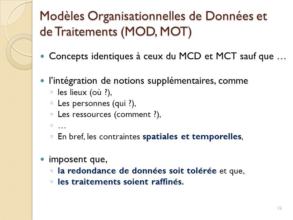 Concepts identiques à ceux du MCD et MCT sauf que … lintégration de notions supplémentaires, comme les lieux (où ?), Les personnes (qui ?), Les ressou