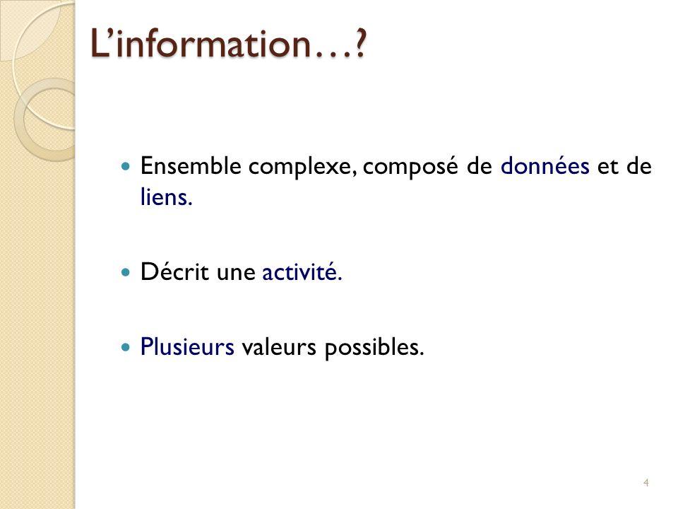 Ensemble complexe, composé de données et de liens. Décrit une activité. Plusieurs valeurs possibles. 4 Linformation…?
