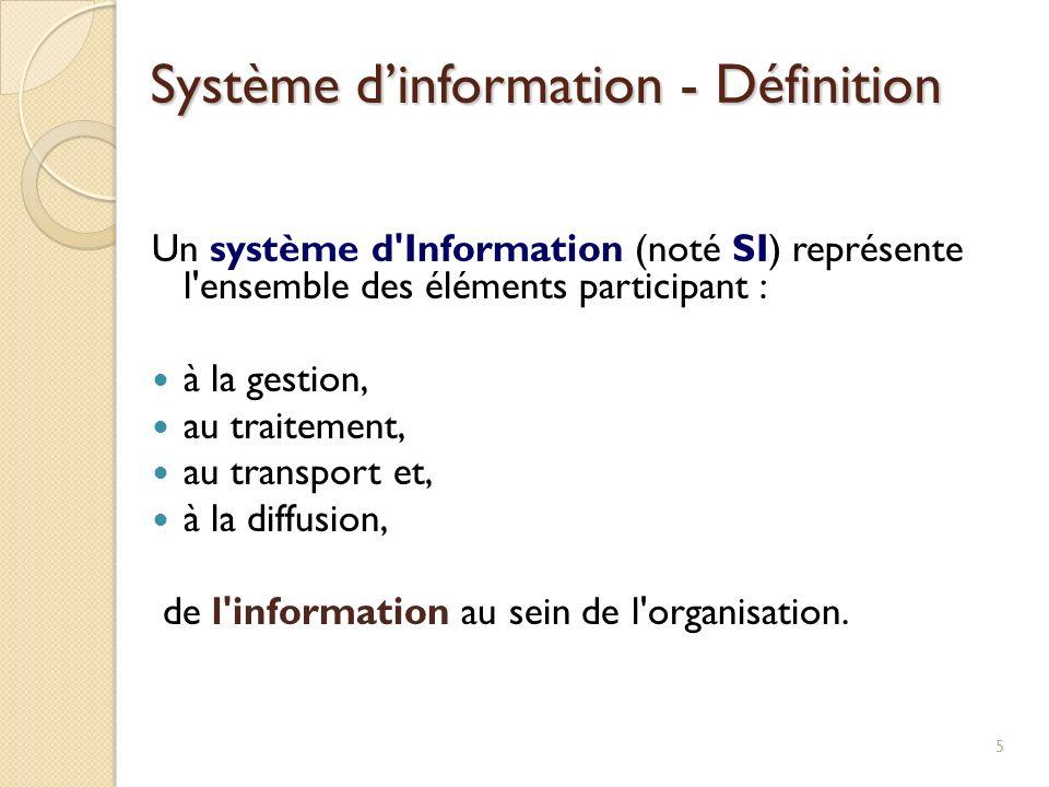 Un système d'Information (noté SI) représente l'ensemble des éléments participant : à la gestion, au traitement, au transport et, à la diffusion, de l