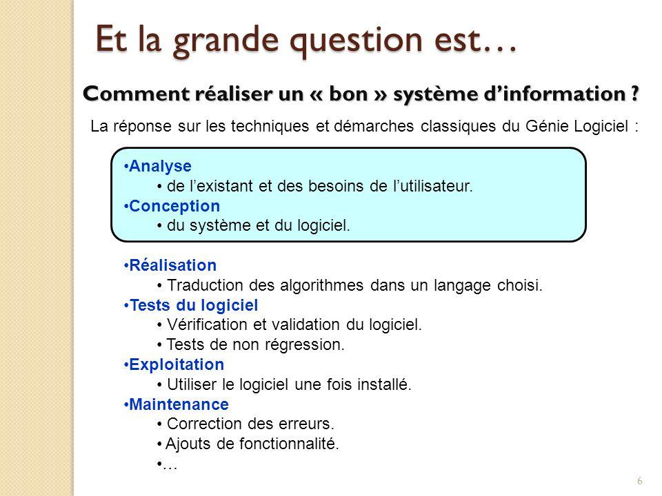 6 Et la grande question est… Comment réaliser un « bon » système dinformation ? La réponse sur les techniques et démarches classiques du Génie Logicie