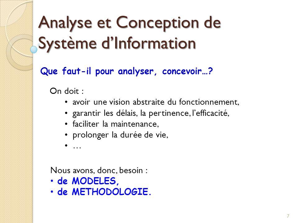 7 Analyse et Conception de Système dInformation Que faut-il pour analyser, concevoir…? On doit : avoir une vision abstraite du fonctionnement, garanti