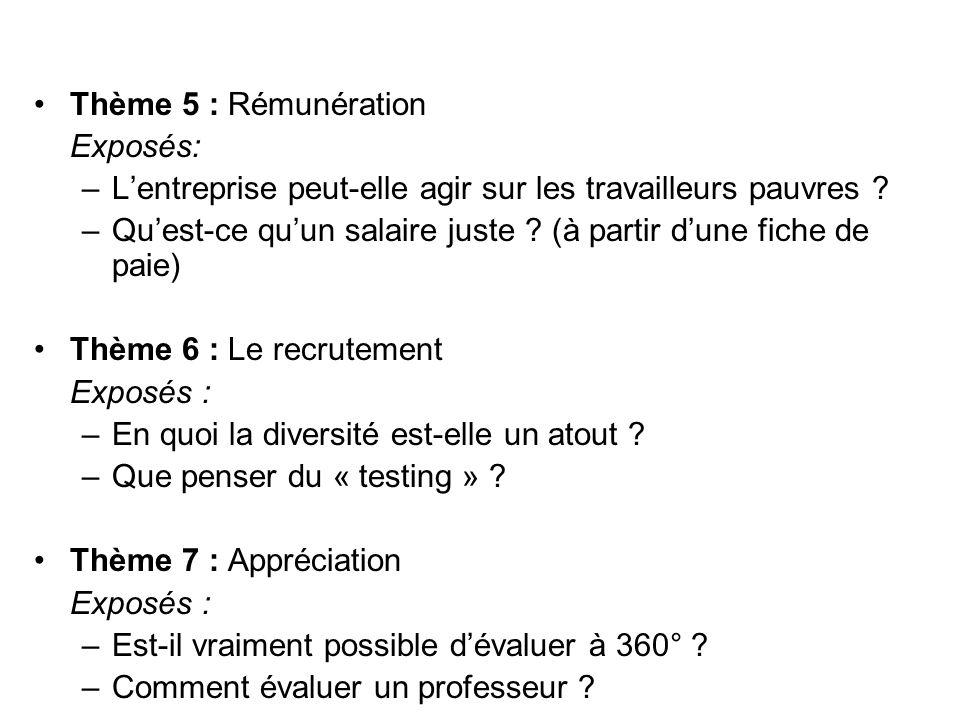 Thème 5 : Rémunération Exposés: –Lentreprise peut-elle agir sur les travailleurs pauvres ? –Quest-ce quun salaire juste ? (à partir dune fiche de paie