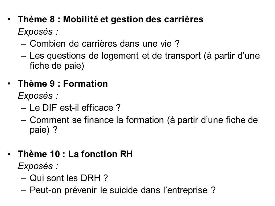 Thème 8 : Mobilité et gestion des carrières Exposés : –Combien de carrières dans une vie ? –Les questions de logement et de transport (à partir dune f