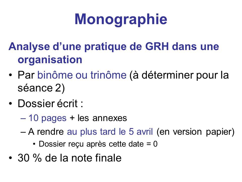 Monographie Analyse dune pratique de GRH dans une organisation Par binôme ou trinôme (à déterminer pour la séance 2) Dossier écrit : –10 pages + les a