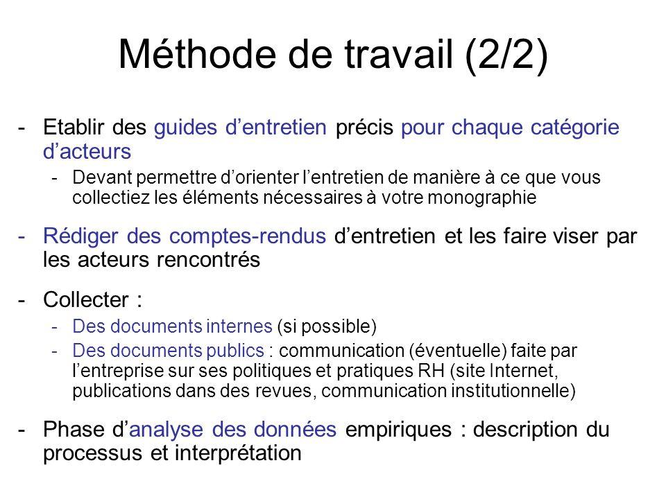 Méthode de travail (2/2) -Etablir des guides dentretien précis pour chaque catégorie dacteurs -Devant permettre dorienter lentretien de manière à ce q